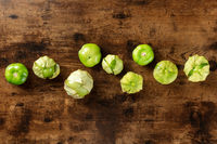 Tomatillos, green tomatoes, shot from above with copy space