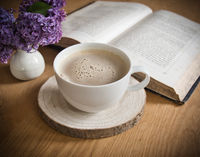 drinking coffee and reading books