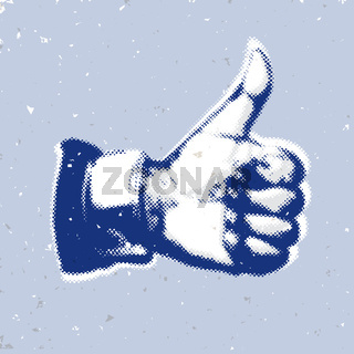 Like/Thumbs Up symbol on a blue background
