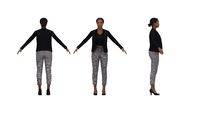 3D rendering of a business woman multiple views, front side and back