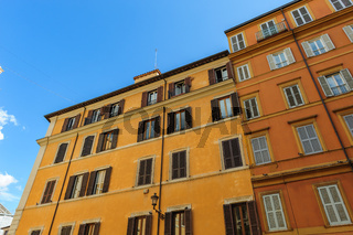 Typical view of usual old residential buildings in Rome, Italy