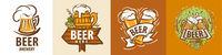Vector set of beer mug logos on different backgrounds