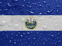 flag of El Salvador with rain drops