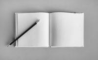 Sketchbook and pencil