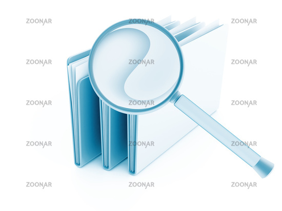 folders with papers under magnifier on a white bac