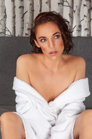 Mature woman sexy in bathrobe