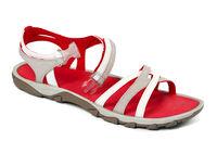 Red female summer sandal on white background