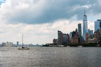 Skyline of Downtown of Manhattan in New York and Sailing Ship