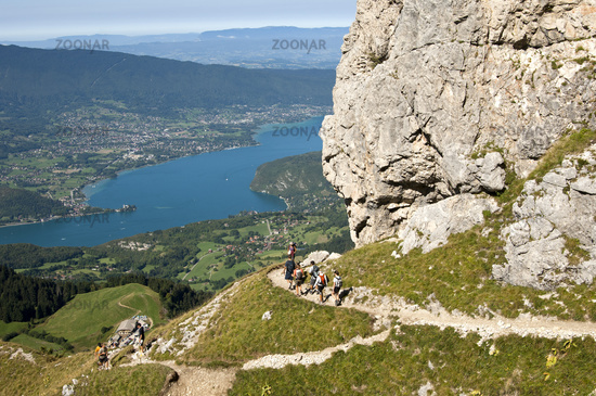 Hikers in the Bornes Mountains above Lac d'Annecy