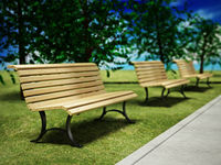 Wooden park benches in arow inside a park. 3D illustration