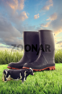 Rubber boots in grass with toy cow