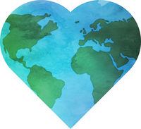 pastel drawing of heart shaped world map