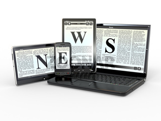 Media. Text NEWS on screen of laptop