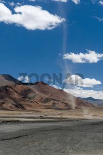 Wind Tornado seen near Tsokar Lake, Ladakh, India