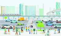 Modern city silhouette with road traffic and pedestrians on the zebra crossing, illustration