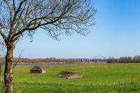 Shelters of Dutch awter line at Fort Everdingen in the Netherlands