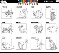 basic colors with animal characters set coloring book page