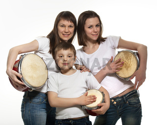 Happy smiling mother with children with drums