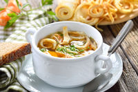 Hearty pancake soup with country side deco