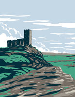 Castle Ruins in Moorland and Upland Area of Dartmoor National Park Located in Southern Devon England UK Art Deco WPA Poster Art