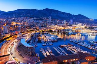 Monaco at Blue Hour Evening