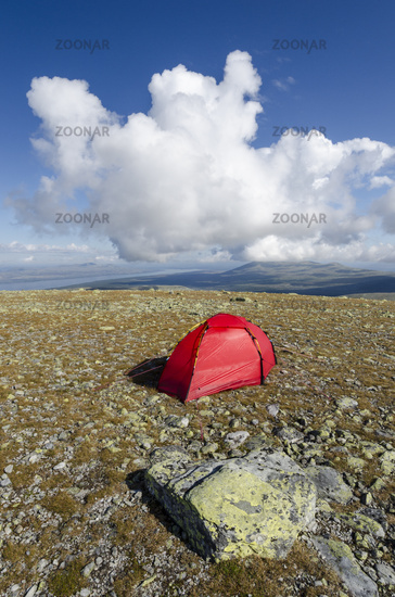 tent on Elgahogna with Lake Femunden, Norway