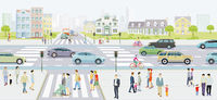 City silhouette with road traffic and pedestrians on the zebra crossing, illustration