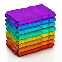 Stack of multi-colored towels isolated on white bacground. 3D illustration