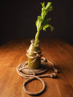 Healthy vegetable fruit smoothie from organic ingredients with an old skipping rope