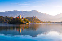 Lake Bled in Slovenia shortly after sunrise