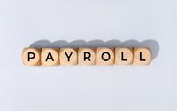 Payroll word on wooden block isolated on gray background