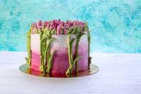 Beautiful cake with cream flowers.