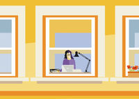 Young woman working at home, illustration