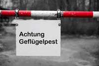 Sign at the entrance of a farm in Germany with the inscription Attention avian influenza