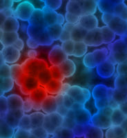 Illustration of blue cells with red cluster indicating a cancer tumor or infection