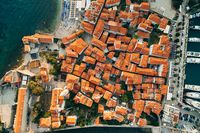 Aerial photo from drone - Old Town Budva, Montenegro. Top down view