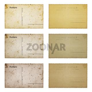 Alte Postkarten, isoliert auf weiss