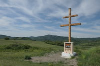 double cross at the top of the meadow below Inovec