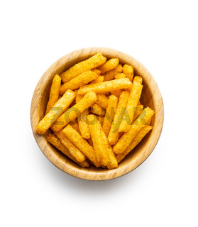 French fries. Salted snack. Potato chips in bowl.