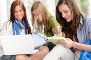 Group of teenage student study at high-school