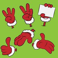 Set of six hands of Santa