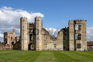 MIDHURST, WEST SUSSEX/UK - SEPTEMBER 1 : View of the Cowdray Castle ruins in Midhurst, West Sussex on September 1, 2020