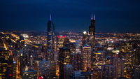 Chicago by night - amazing aerial view over the skyscrapers - CHICAGO, USA - JUNE 12, 2019