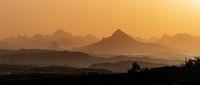 Sunrise landscape Axum Simien Ethiopia