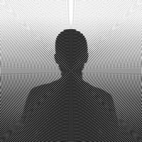 Man silhouette, circular halftone illustration