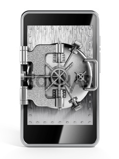 Silver vaulted safety door on smartphone screen