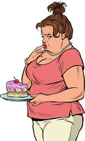 Fat woman with cake. Diet and human health. Criticism for being overweight and body positive