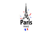 Vector icon of the Eiffel Tower in Paris drawn by hand
