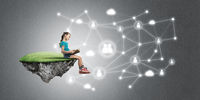 Idea of children Internet communication or online playing and electronic education