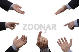 Verschiedene Hände von und Finger Business